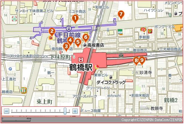 鶴橋 焼肉店地図